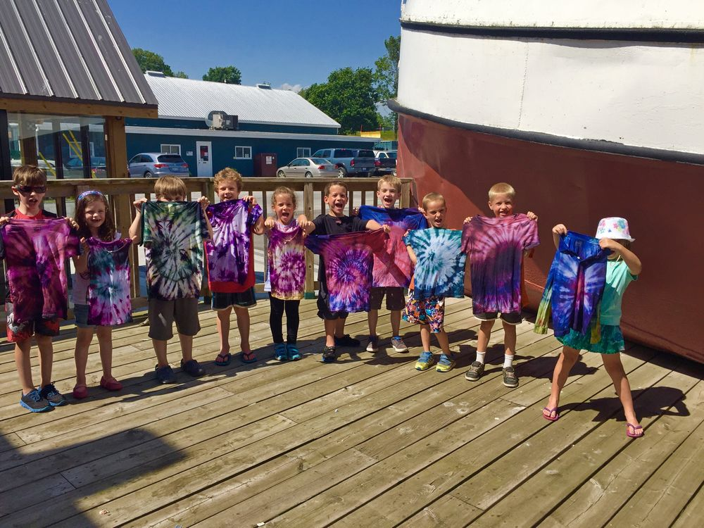 Campers with tye-dye shirts