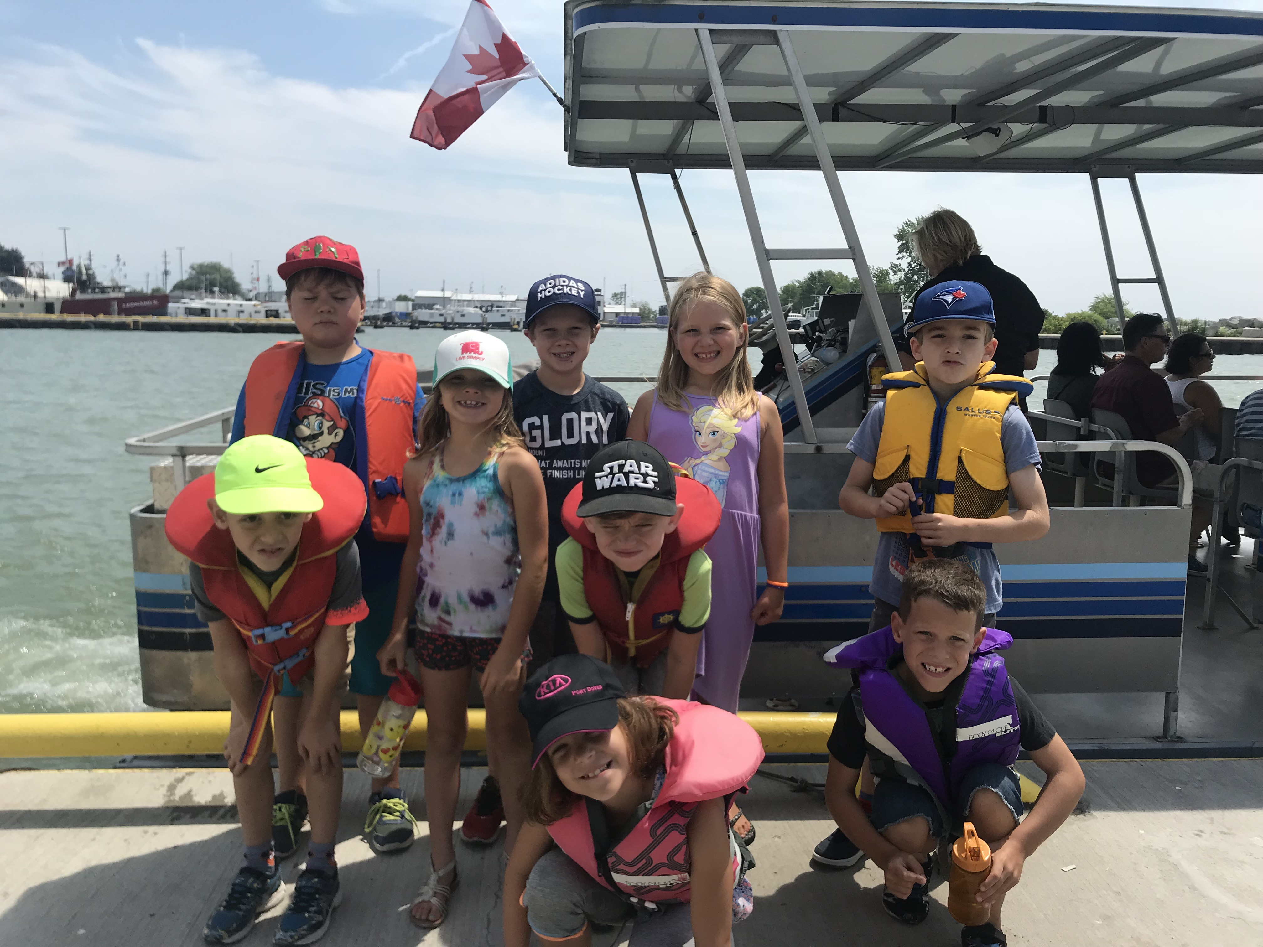 Children getting ready to board the River Rider