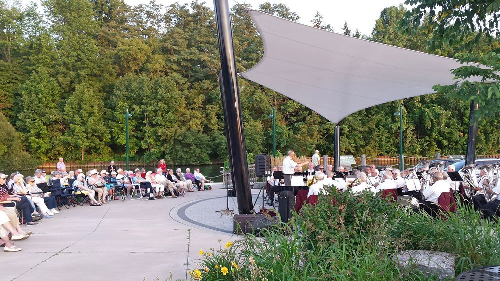 Summer concert being held in the parkette next to the museum